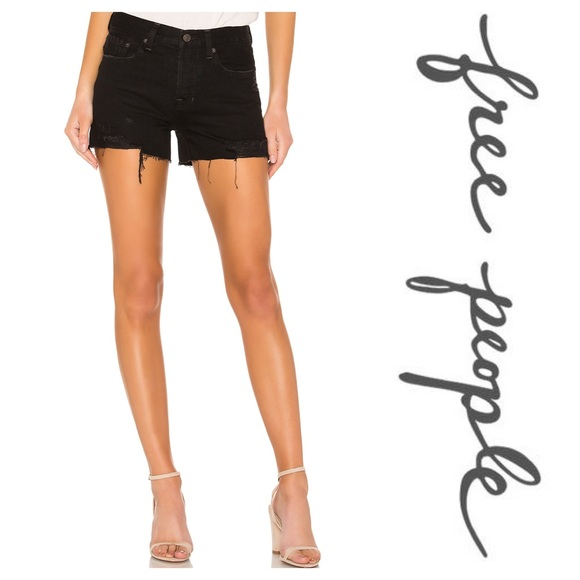 90d446208b Free People Shorts | New Sofia Distressed Denim Short Black | Poshmark